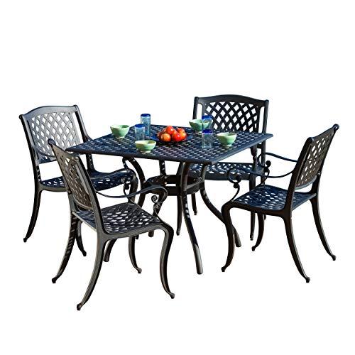 Christopher Knight Home Hallandale Cast Aluminum Outdoor Dining Set, 5-Pcs Set, Black Sand