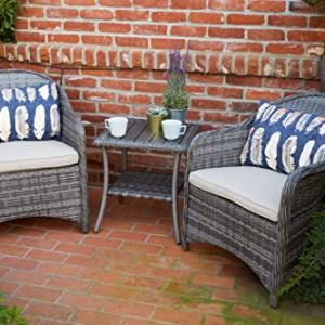Quality Outdoor Living 65-51673C Acadia Chat Set, Grey Wicker + Tan Cushions