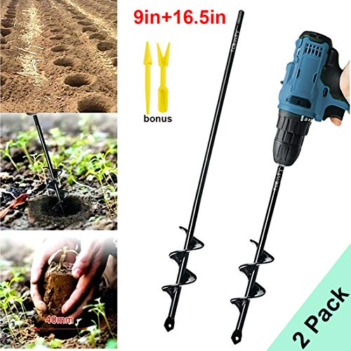 "Garden Auger Drill Bit 1.6x9in & 1.6x16.5in Garden Auger Spiral Drill Bit Rapid Planter for 3/8"" Hex Drive Drill - for Tulips, Iris, Bedding Plants and Digging Weeds Roots"