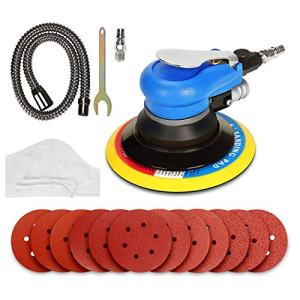 Air Random Orbital Sander, ZFE 6'' 150mm Dual Action Pneumatic Sander with 12 Pcs Sanding Discs Pad (#80,#120,#240,#320), 6 Inch Air Sander & Polisher for Car and Metal