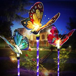 Outdoor Solar Garden Lights, Solar Stake Lights,Fiber Optic Butterfly Decorative Lights with a Purple LED Light Stake, Multi-color Changing LED Garden Lights, outdoor decor,Yard Art,Garden Decorations