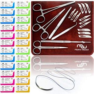 Sutures Thread with Needle Plus Training Tools - Medical Nursing Student's Surgical Practice Suture Set, Wilderness Survival Demo Kit, First Aid Field Tactical Emergency Practice
