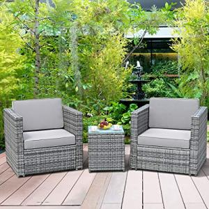 HAPPYGRILL 3-Pieces Patio Furniture Set PE Rattan Wicker Sofa Set with Cushion and Tempered Glass Tabletop, Outdoor Conversation Furniture for Garden Poolside Balcony