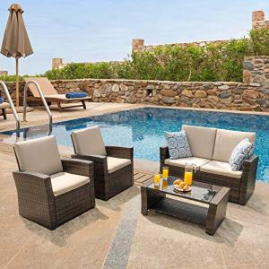 Walsunny Quality Outdoor Living,Outdoor Patio Furniture Sets,4 Piece Conversation Set Wicker Ratten Sectional Sofa with Seat Cushions (Brown)