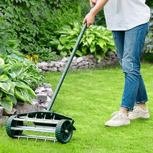 HAPPYGRILL Rolling Lawn Aerator 18-inch Garden Yard Rotary Push Tine Spike Soil Aeration
