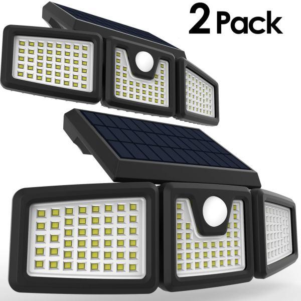 Solar Lights, PERFECTDAY Solar Motion Sensor Light Super Bright Outdoor 128 LED Security Lighting White, 2PK