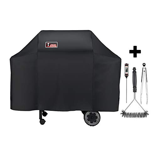 Kingkong 7573 / 7106 Grill Cover for Weber Spirit 200, 300 Series and Genesis Silver Gas Grill with Grill Brush, Tongs and Thermometer