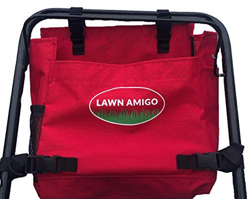 Lawn Amigo. Push Mower Organizer. Bag Clips to Walk-Behind Lawn Mower and Stores Tools Water Bottle Phone Knife Tool Bags and iPhone (Black, Green, Red). Made in USA. Yard Gifts for Men. (Red)