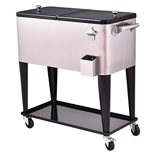 Giantex 80 Quart Patio Cooler Rolling Cooler Ice Chest with Shelf, Wheels and Bottle Opener, Stainless Steel Ice Chest Portable Patio Party Drink Cooling Cart Beverage Cooler Cart (Black & Sliver)