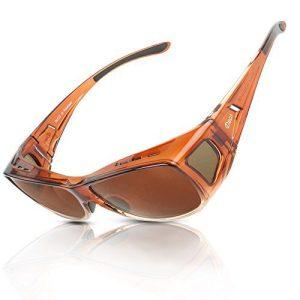DUCO Unisex HD Wraparound Prescription Glasses Polarized Sunglasses 8953 (M Size Brown Frame Brown Lens)
