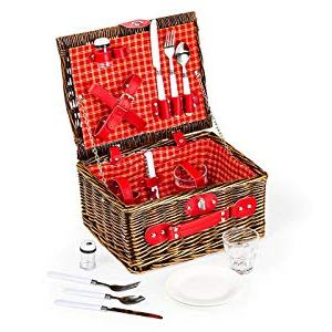 Lexi Home Wicker Picnic Basket for 2 or 4 | Picnic Set with Serveware Lexi Home Wicker Picnic Basket for 2 or 4 | Picnic Set with Serveware | Picnic Kit with Reusable Plates, Cups, and Utensils | Picnic Gift Set (Red & White Plaid/2 Person).