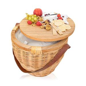 M Collective Luxury Large Round Wicker Picnic Basket Set with Inbuilt Wine Chiller (Leather Handle Baskets)