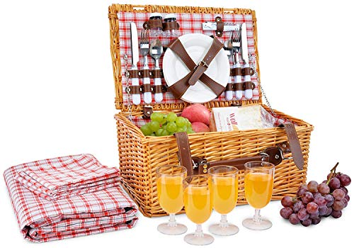 Picnic Basket for 4 Person | Red Picnic Hamper Set | Folding Picnic Blanket | Picnic Table Set | Picnic Plates | Picnic Supplies | Summer Picnic Kit | Picnic Utensils Cutlery Set Flatware