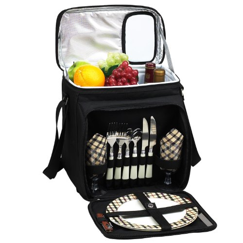 Picnic at Ascot Original Insulated Picnic Basket/Cooler Equipped with Service for 2- Designed, Assembled & Quality Approved in the USA