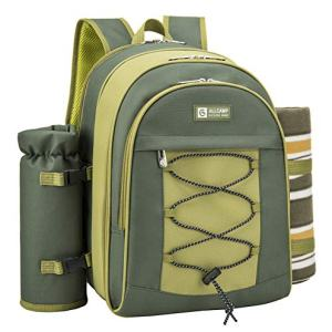 ALLCAMP 2 Person Blue Picnic Backpack Hamper with Cooler Compartment Bundle Dimensions: 11.eight x 9.5 x 16.1 inches