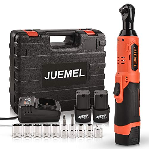 """16.8V Cordless Ratchet Wrench Kit, JUEMEL Electric Ratchet Wrench 3/8"""" 46 N·m 400 RPM With 2-Pack 2.0Ah Li-Ion Batteries, Fast Charger, 7 Sockets, 2 Screwdrivers and 1/4"""" Adapter"""