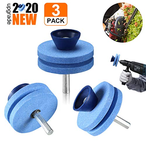 【New Upgrade】 Lawnmower Blade Sharpener Drill Attachment, Blunt Blade Sharpener, Blunt Blades Drill Attachment Lawn Mower Sharpener lawnmower Blade Kit for Any Power Drill Hand Drill-(3 Pack Blue)