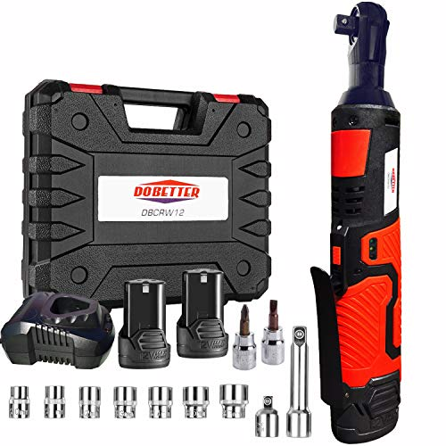 """3/8"""" Cordless Electric Ratchet Wrench Set, Dobetter 40 Ft·lb Power Ratchet Toolwith (2) 2 Ah Lithium-Ion Batteries, 7 Sockets, 2 Screwdrivers, 1 Extender, 1/4"""" Adapter, 1 Quick Charger -DBCRW12"""