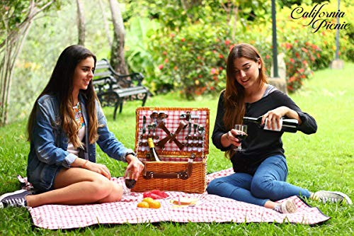 Picnic Basket for 4 Person | Red Picnic Hamper Set | Folding Picnic Blanket Package deal Dimensions: 17.zero x 11.zero x 7.7 inches