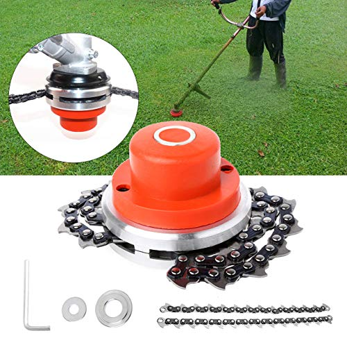 WICHEMI 65Mn Lawn Mower Chain Grass Trimmer Head Chain Brush Cutter Weed Eater Accessory Outdoor Garden Lawn Machine Mower Grass Head Chain Trimmer Head Universal Lawn Mower Replacement Parts (Orange)