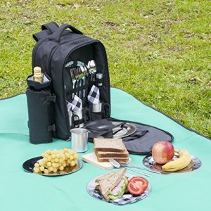 One Savvy Girl Picnic Backpack for 4 with Premium Stainless Steel Tableware Bundle Dimensions: 16.three x 11.eight x 7.9 inches