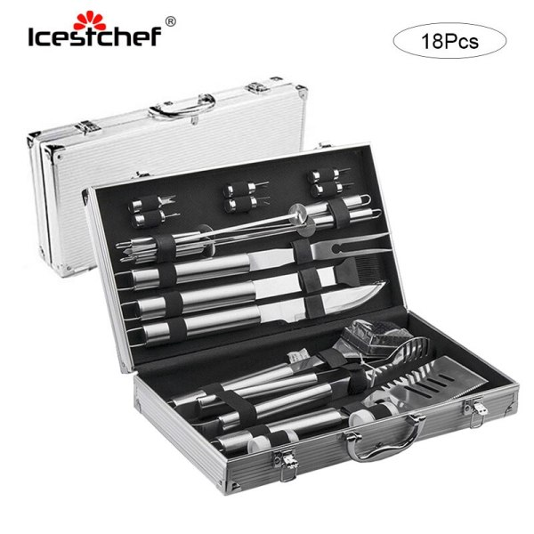 18Pcs/Set Stainless Steel Barbecue Cooking Utensil Set BBQ