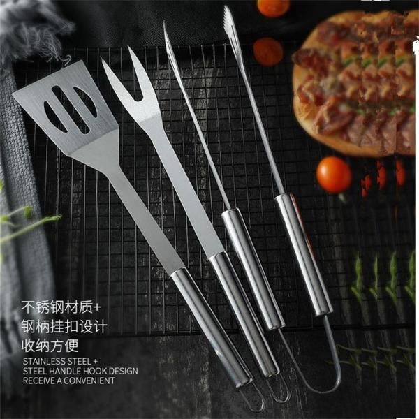 3Pcs/Set Stainless Steel Barbecue Grilling Tools Set BBQ Tongs Fork