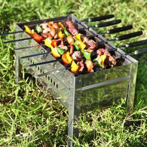 Black Wood Barbecue Skewers Long Barbecue Fork