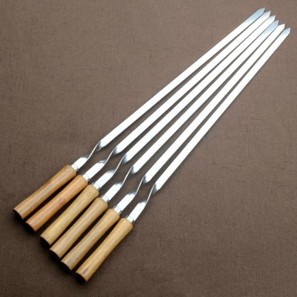 55cm Stainless Steel BBQ Skewers Wooden Handle BBQ