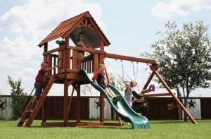 fort davis, wooden swing set, swing set, swings, slide, swing set for kids, kids, children, play, playground, playset, sets, accessories, backyard swing set