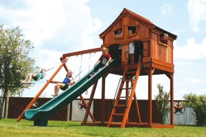 fort stockton, cabin, wooden swing set, swing set, swings, slide, swing set for kids, kids, children, play, playground, playset, sets, accessories, backyard swing set