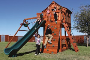 fort stockton, cabin, rock wall, mailbox, wooden swing set, swing set, swings, slide, swing set for kids, kids, children, play, playground, playset, sets, accessories, backyard swing set