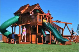 maverick, cabins, twister slide, lemonade, porch, ramp, punching bag, wooden swing set, swing set, swings, slide, swing set for kids, kids, children, play, playground, playset, sets, accessories, backyard swing set