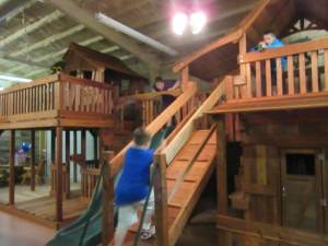 indoor redwood display, slides, cabins, forts, decks, binoculars, telescopes
