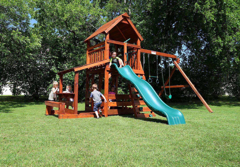 wrangler, playset, lemonade bench, lower porch, lower corral, wonder wave slide, deck ladder, belt swings, trapeze bar