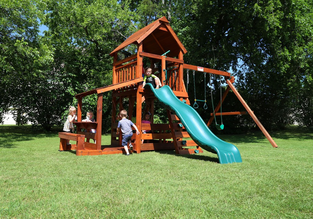 wrangler, playset, lemonade bench, lower porch, lower corral, wonder wave slide, deck ladder, belt swings, trapeze bar