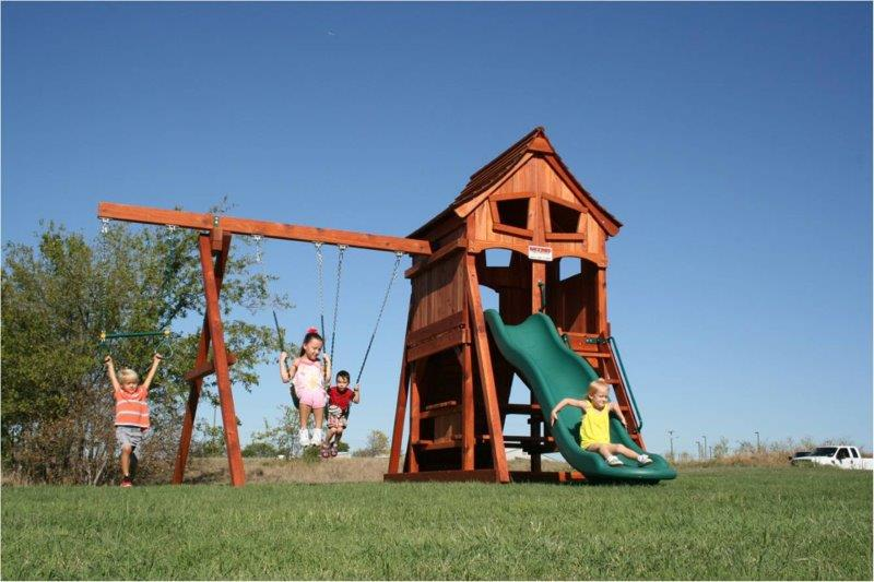 fun shack, swing set, upper cabin, playset, swings, slide, picnic table, rockwall, backyard swing set