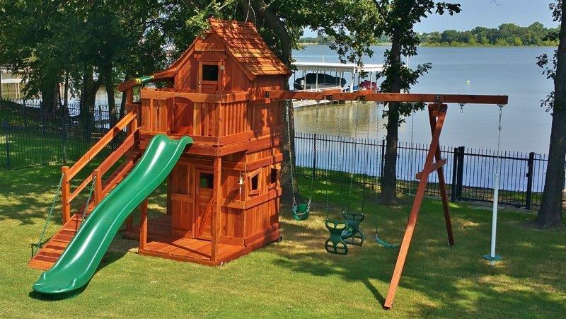 mustang, swing set, upper lower cabins, slide, bell, swings, glider, ramp