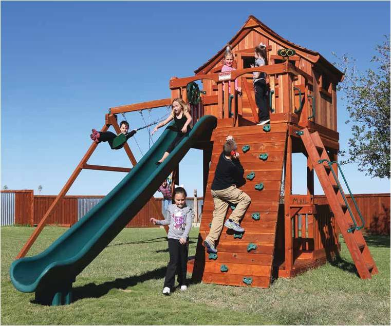 The Fort Stockton line of redwood playsets features a 6'-7' deck height for those older kids! Lots of cool upgrades to be found on the Stockton as well.