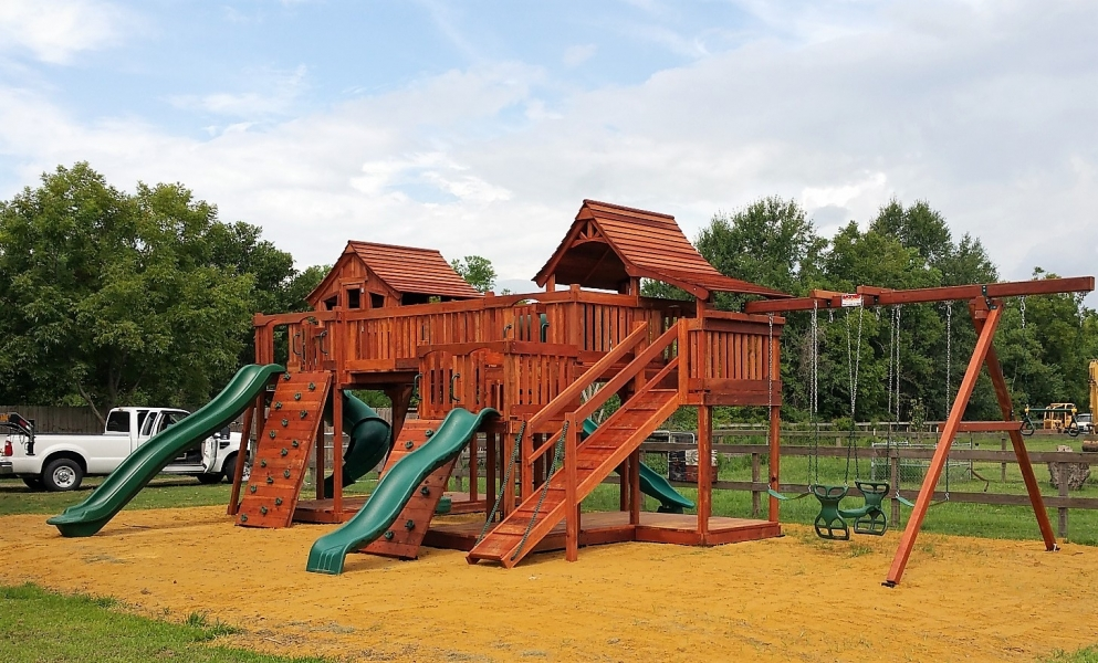adventure ramp, belt swings, bridge, crawl tube, custom name plate, fort stockton, glider, half shack, monkey bar, mustang, playset, rock wall, Rocket Slide, slide, swing beam, swing set, trapeze bar, twister slide, upper cabin, wave slide, outdoor playset, wooden playset