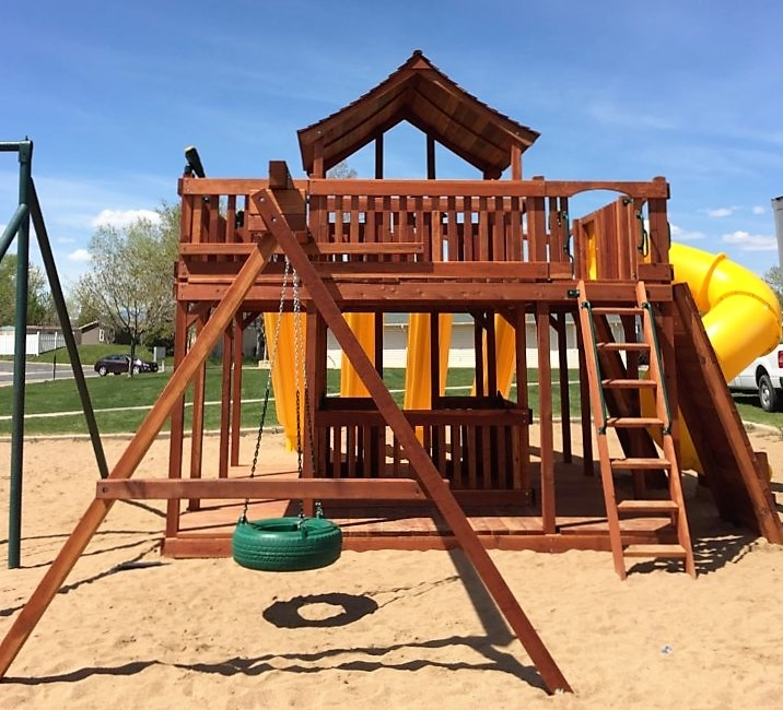 playset, porch, rock wall, slides, swing set, Ticonderoga, tube slide, outdoor playset