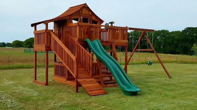 adventure ramp, cabin, fort stockton, playset, porch, rave slide, swing, swing set, outdoor playset