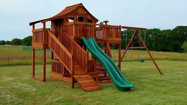 adventure ramp, cabin, fort stockton, playset, porch, rave slide, swing, swing set, outdoor playset