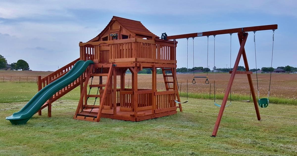 cabin, fort stockton, playset, porch, ramp, slide, swing, swing set, outdoor playset