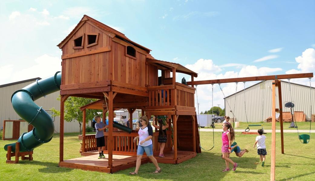 cabin, Fort Ticonderoga, playset, punching bag, rock wall, slide, swing, swing set, Tri-Level