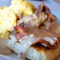 biscuit, bacon and gravy