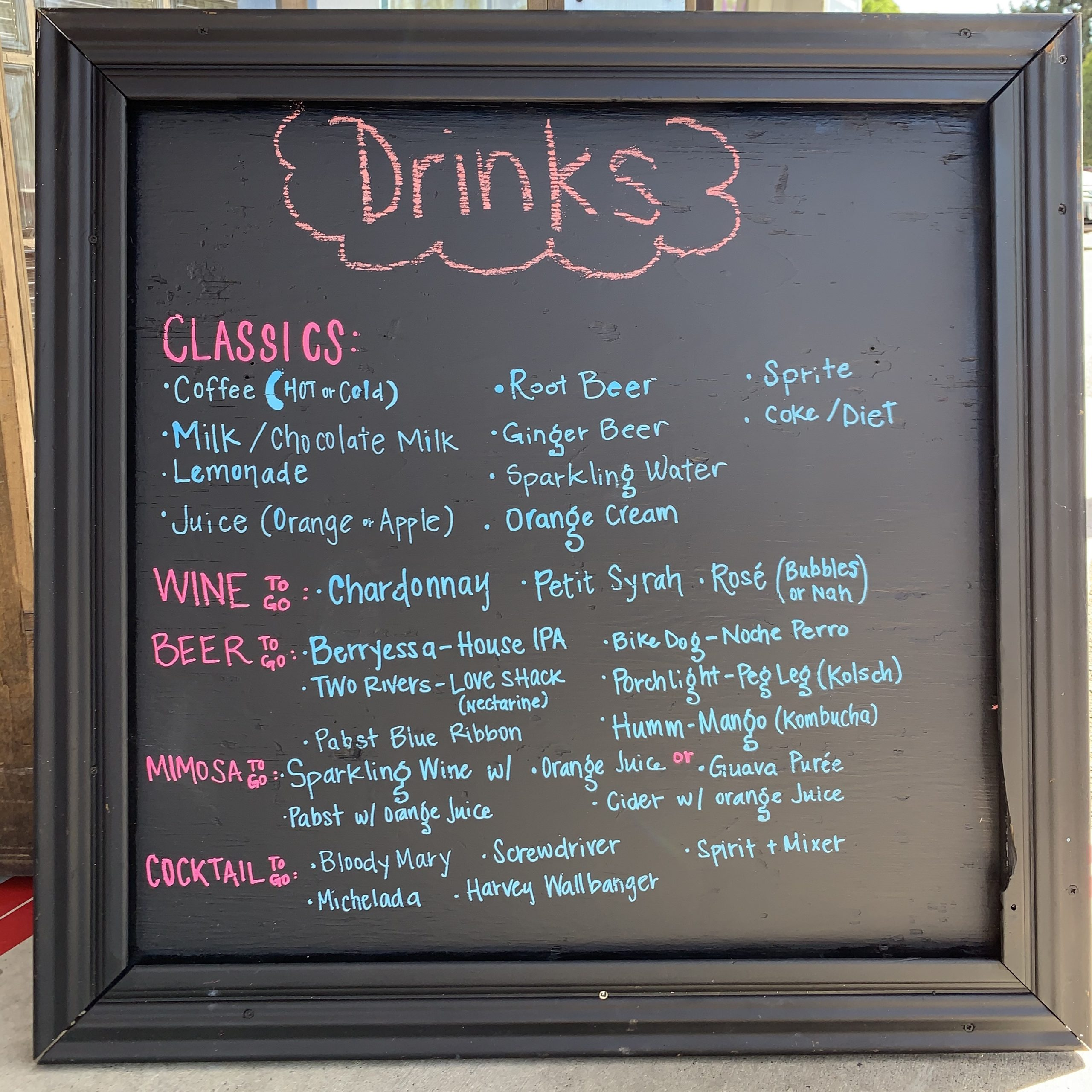 drinks and dranks menu