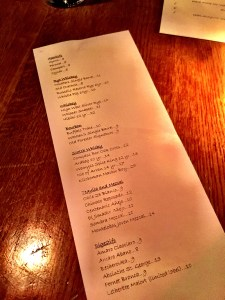 Traif Booze Menu