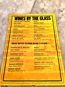 Charlie Bird Bar Wine Menu