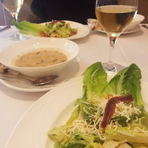 caesar salad and salmon/corn chowder at Leo's, grand rapids